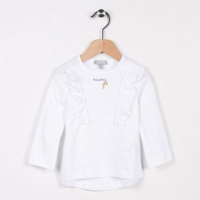 Tee-shirt avec volants Blanc