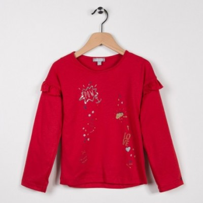 Tee-shirt avec volants Rouge