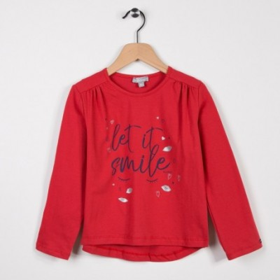 Tee-shirt fille manches longues Rouge