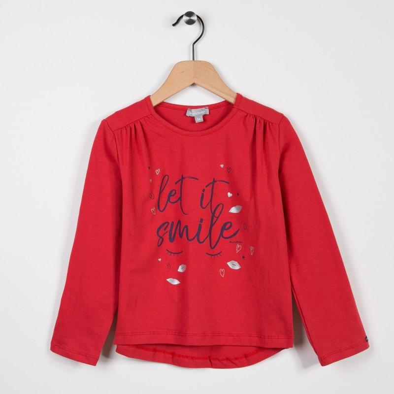 tee shirt fille manches longues rouge miniman shop. Black Bedroom Furniture Sets. Home Design Ideas