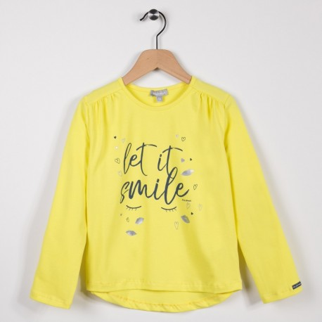 Tee-shirt fille manches longues Jaune