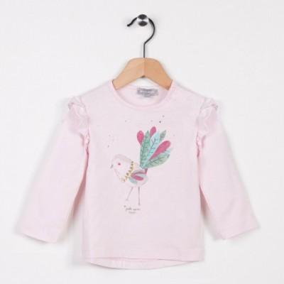 Tee-shirt avec petits volants Rose pale