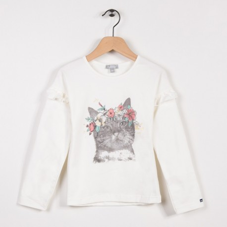 Tee-shirt avec volants Ecru