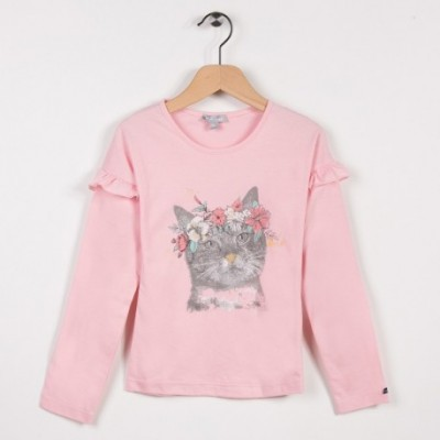 Tee-shirt avec volants Rose pale