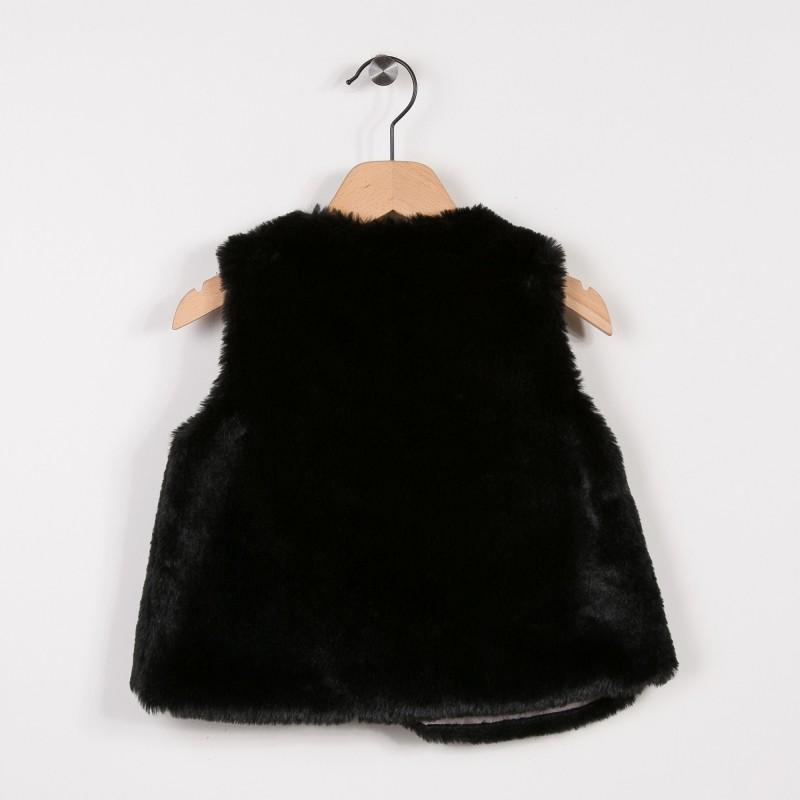 Gilet sans manche fausse fourrure noir miniman shop - Fourrure noir sans manche ...