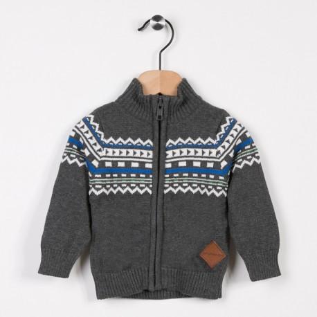 Gilet tricot avec jacquard Gris fonce