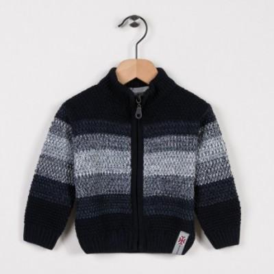 Gilet tricot avec rayures dégradées Marine