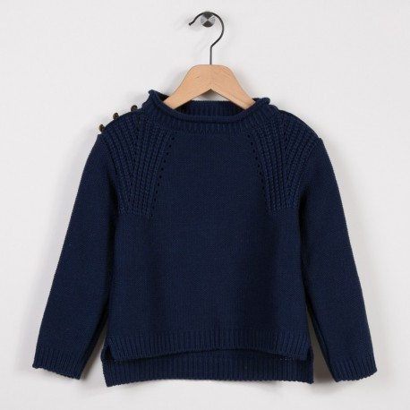 Pull avec points fantaisies Marine
