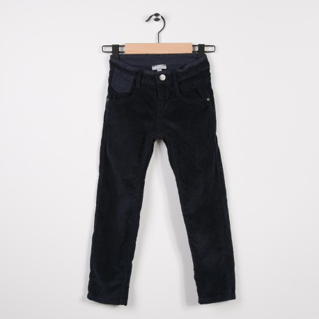Pantalon  5 poches en velours Marine