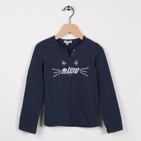 Tee-shirt fille manches longues Marine