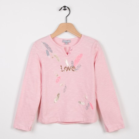 Tee-shirt fille manches longues Rose pale