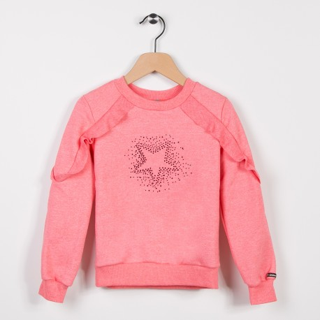 Sweat molleton avec volants Rose moyen