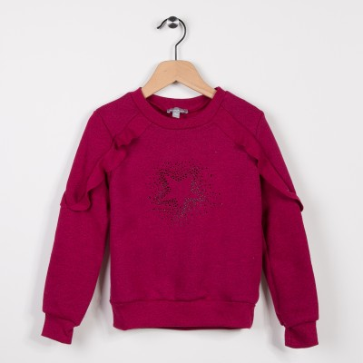 Sweat molleton avec volants Framboise