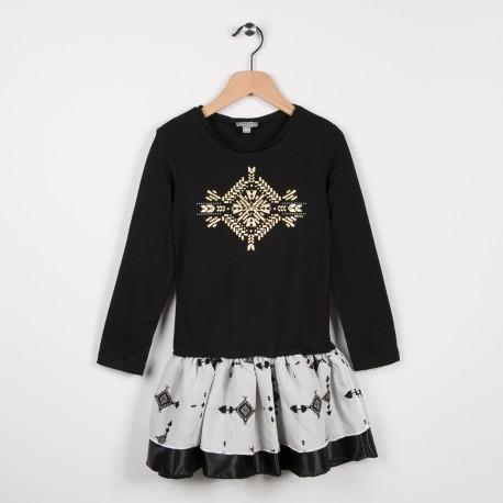 Robe bi-matière Noir