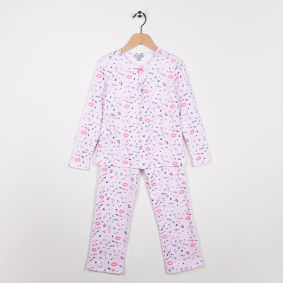 Pyjama en jersey imprimé Rose pale