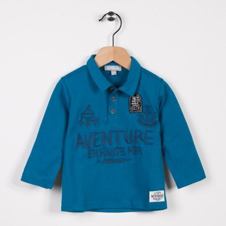 Polo en jersey manches longues Bleu