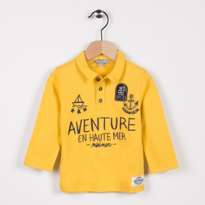 Polo en jersey manches longues Or