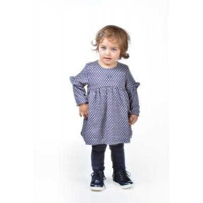 Look bébé fille en robe imprimée marine