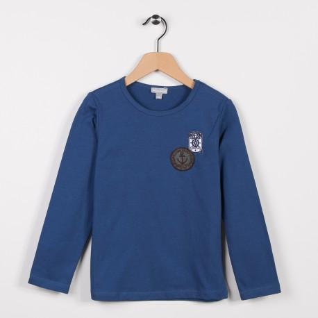 Tee-shirt avec badges Bleu grise
