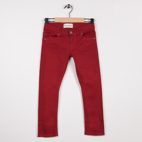 Jean slim 5 poches Rouge
