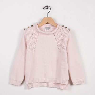 Pull avec points fantaisies Rose pale