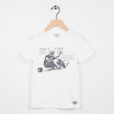 Tee-shirt écru motif tendance side-car