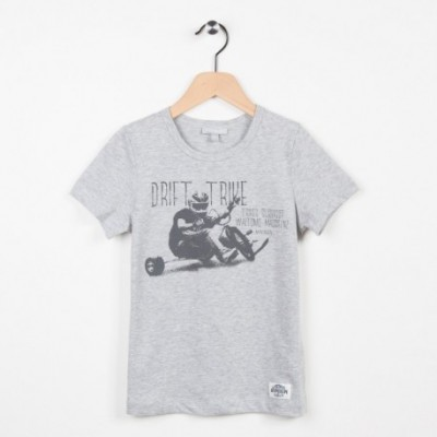 Tee-shirt gris chiné motif tendance side-car