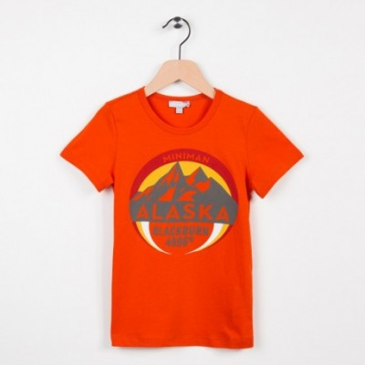 Tee-shirt orange motif esprit aventure