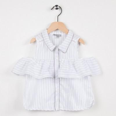 Top rayé avec col chemise - Gris clair