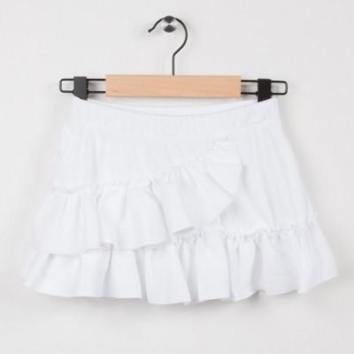 Jupe blanche en maille avec volants