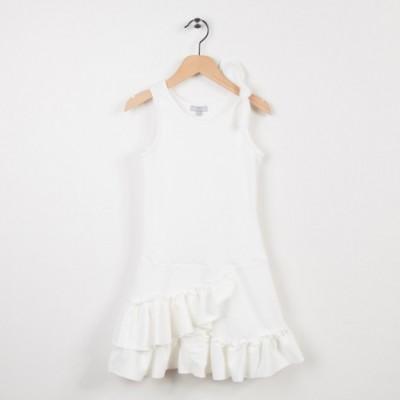 Robe en maille blanche avec volants
