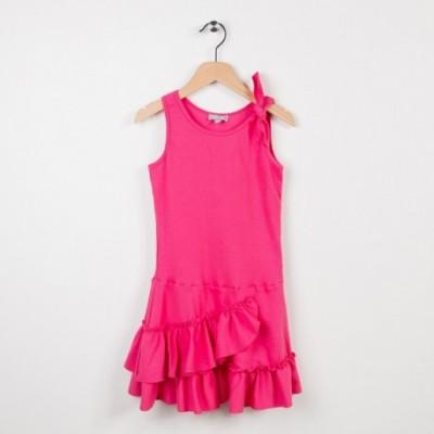 Robe en maille rose avec volants