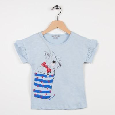 Tee-shirt bleu ciel avec volants