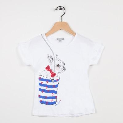 Tee-shirt blanc avec volants