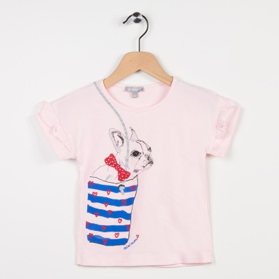 Tee-shirt rose avec volants