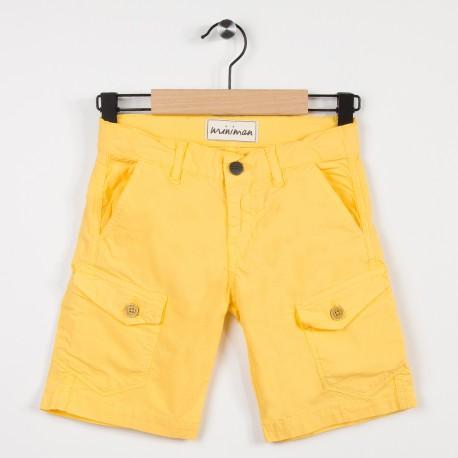 Bermuda jaune avec poches plaquées