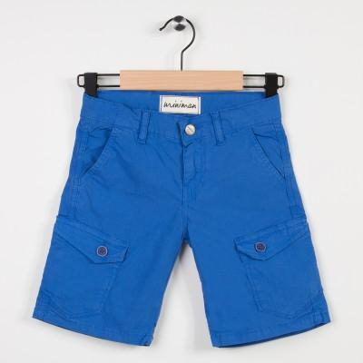 Bermuda bleu avec poches plaquées