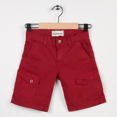 Bermuda rouge avec poches plaquées
