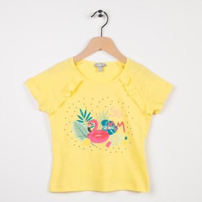 Tee-shirt jaune avec volants