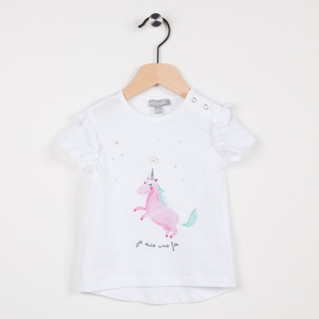 Tee-shirt blanc avec motif licorne