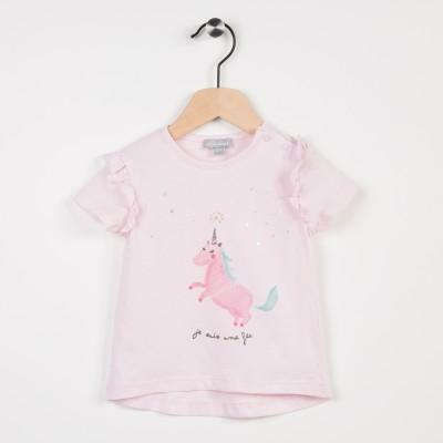 Tee-shirt rose avec motif licorne