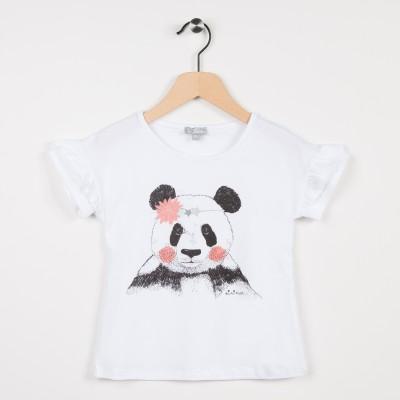 Tee-shirt blanc avec motif panda