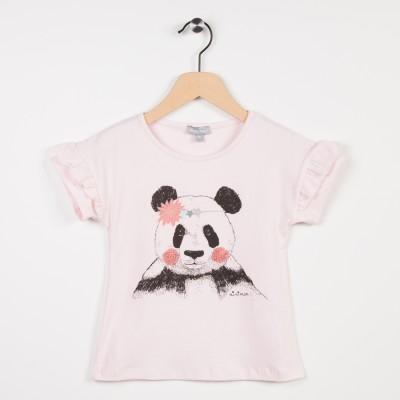 Tee-shirt rose clair avec motif panda