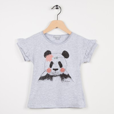 Tee-shirt gris avec motif panda