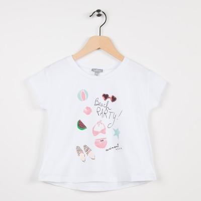 Tee-shirt blanc avec motif esprit plage