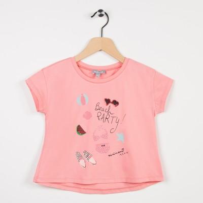 Tee-shirt motif thème plage - Rose saumon