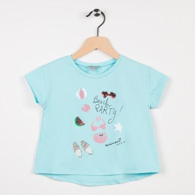 Tee-shirt turquoise avec motif esprit plage