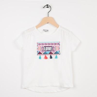Tee-shirt avec pompoms - Ecru