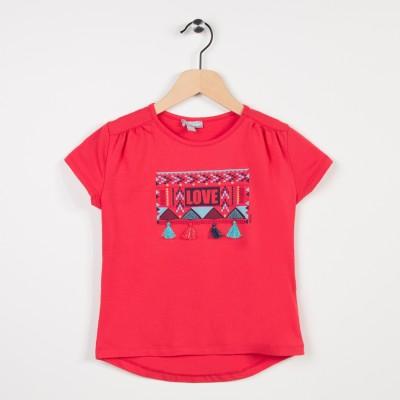 Tee-shirt avec pompoms - Fuchsia