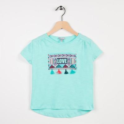 Tee-shirt avec pompoms - Turquoise